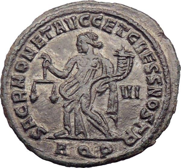 Maximian 300ad Large Roman Coin Juno Moneta Protectress Of