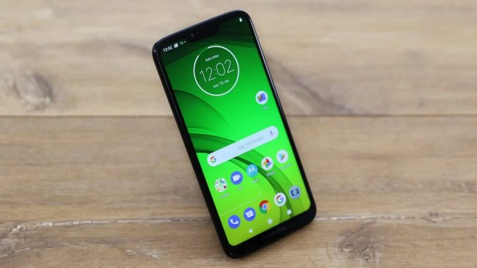 Moto G7 Power front angled on table