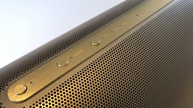 Physical controls on the Cleer Crescent wireless speaker