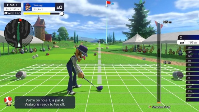 The Mario Golf: Super Rush visuals are nice and bright, and the hub isn't overbearing
