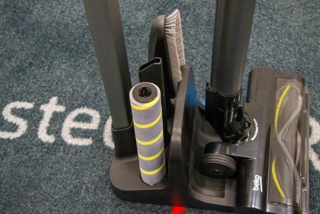 Beko PowerClean Cordless Vacuum Cleaner VRT94929VI accessories stored in stand