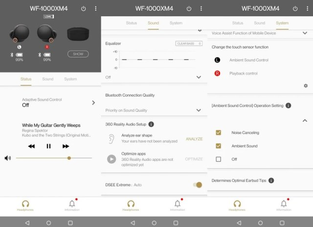 Sony Headphones Connect app features for the WF-1000XM4