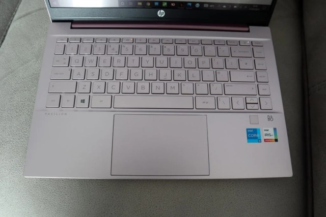 HP Pavilion 14 keyboard viewed from above
