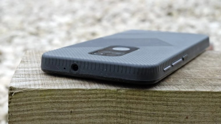 The back of the Moto Defy showing the headphone jack