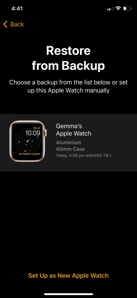 Apple Watch restore from backup 2