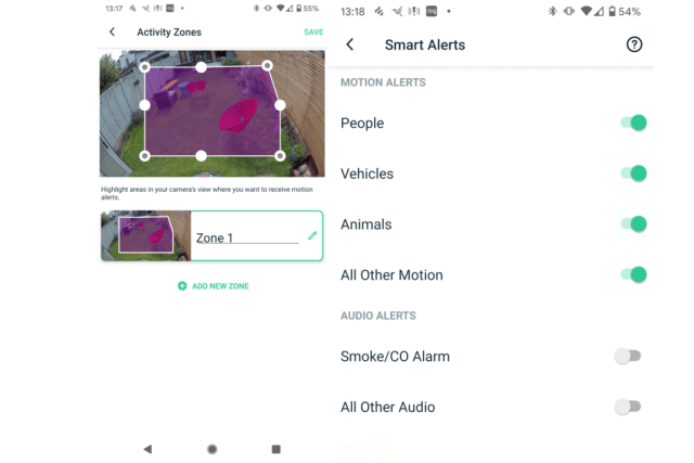 Arlo Pro 4 activity zone and smart notifications