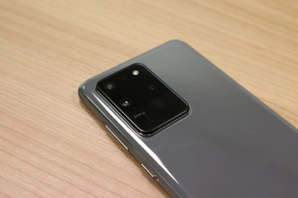 The rear-facing camera set-up of the Galaxy S20 Ultra