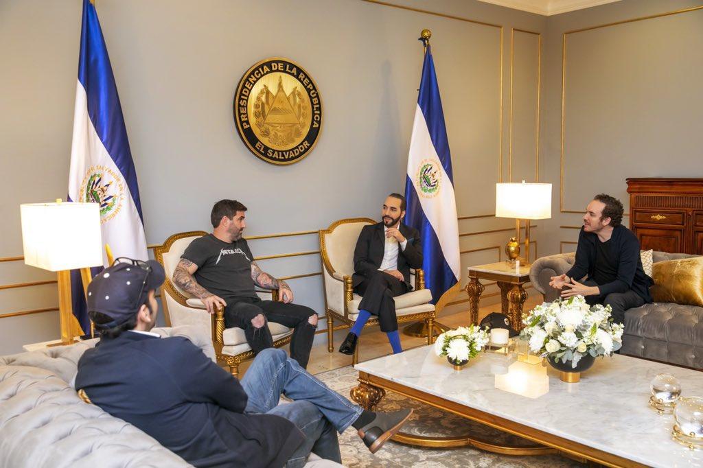 El Salvador president with crypto guys, Sep 2021