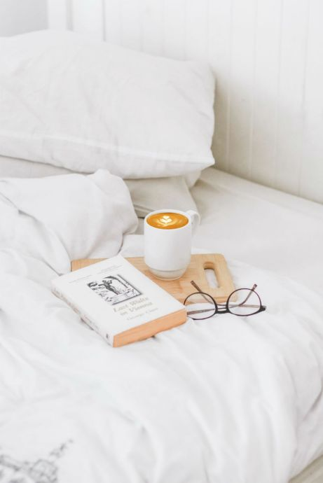 coffee on a bed