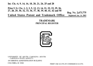South Carolina Block C Trademark Registration