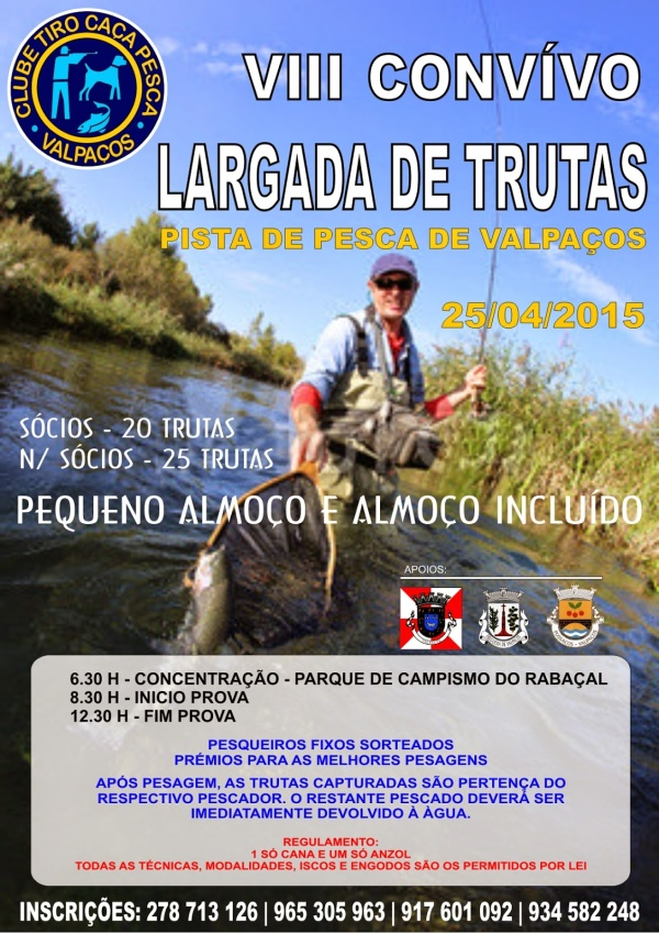 Flyer do oitavo convívio largada de trutas de Valpaços - 2015