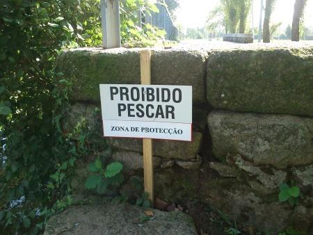 Sinal de proibido pescar Rio Tâmega Chaves