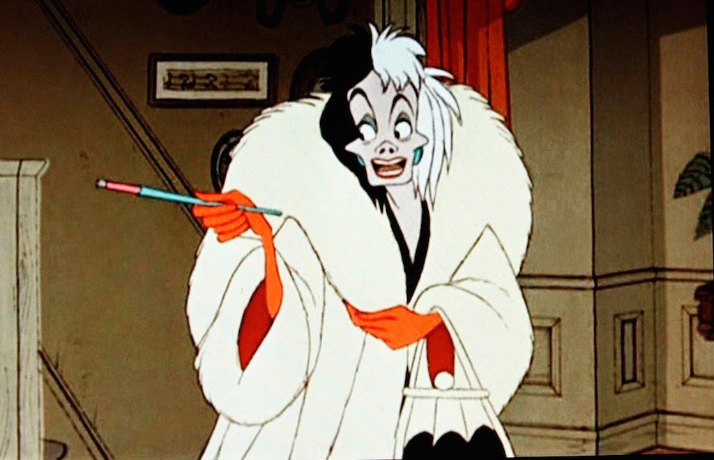 Cruella De Vil in cartoon fur
