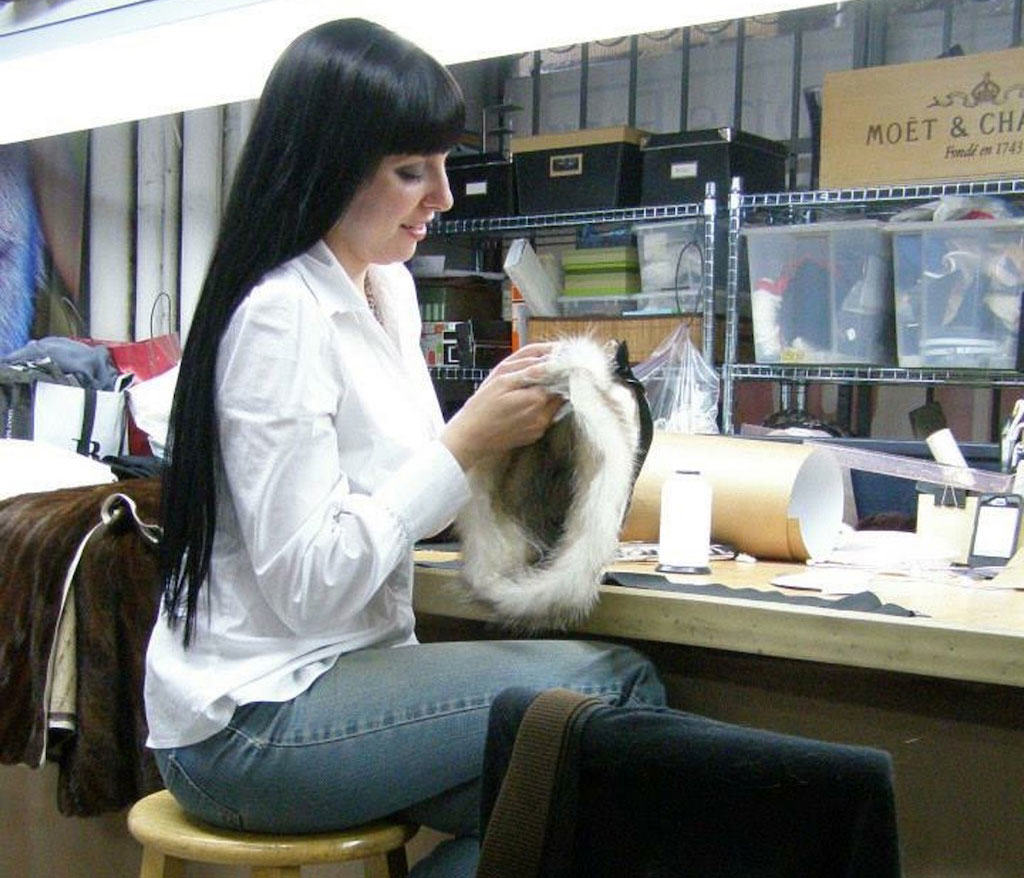 Katie Ball working with fur