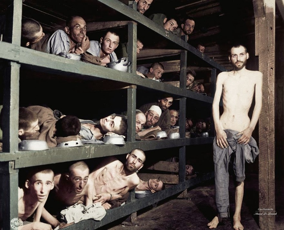 Crowded prison in Buchenwald, 16 April 1945.