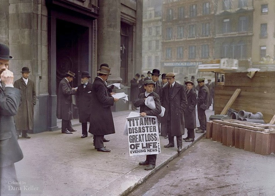 Newsboy Ned Parfet sells the afternoon edition of the newspaper with the news of the sinking of the Titanic last night, April 16, 2012.