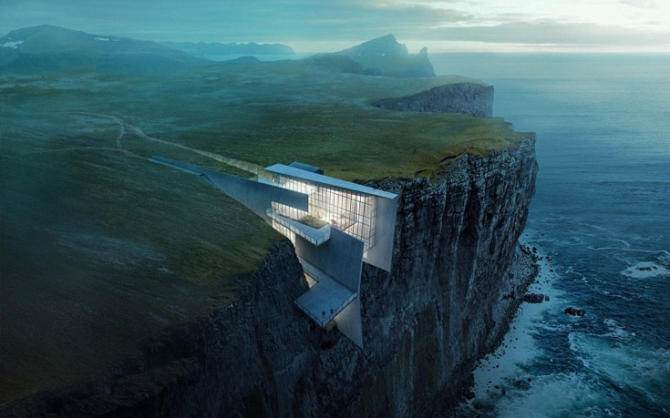 The house that clings to the side of the cliff.