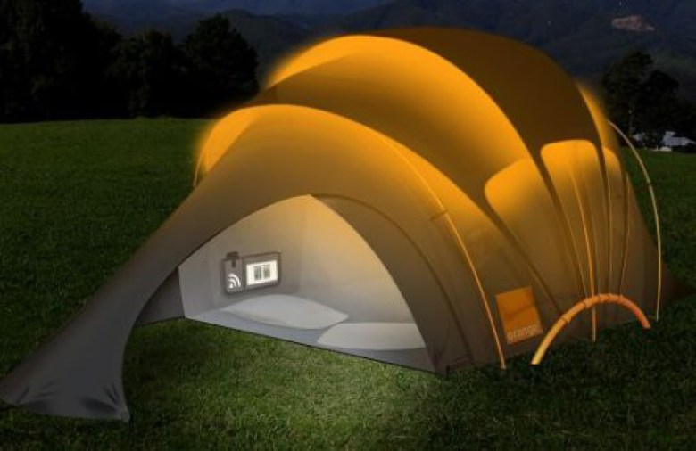 orange solar tent night