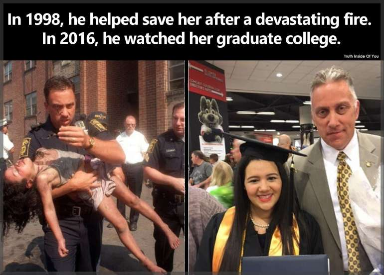 In 1998, he helped save her after a devastating fire. In 2016, he watched her graduate college.