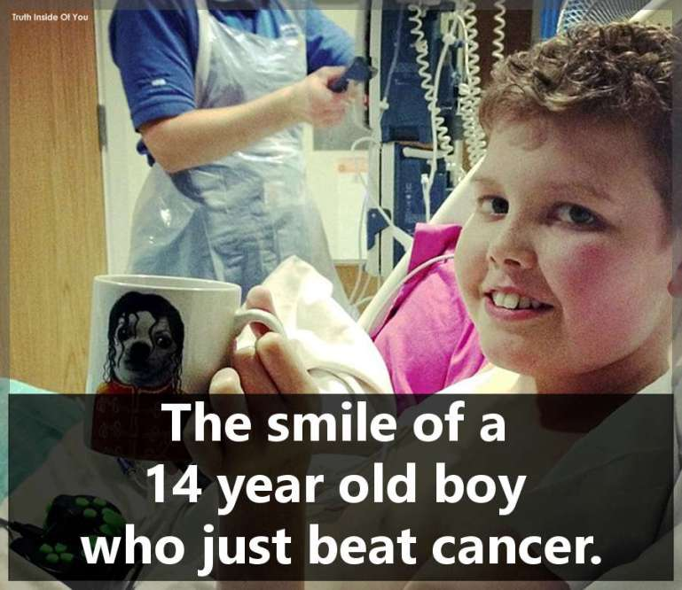 The smile of a 14 year old boy who just beat cancer.