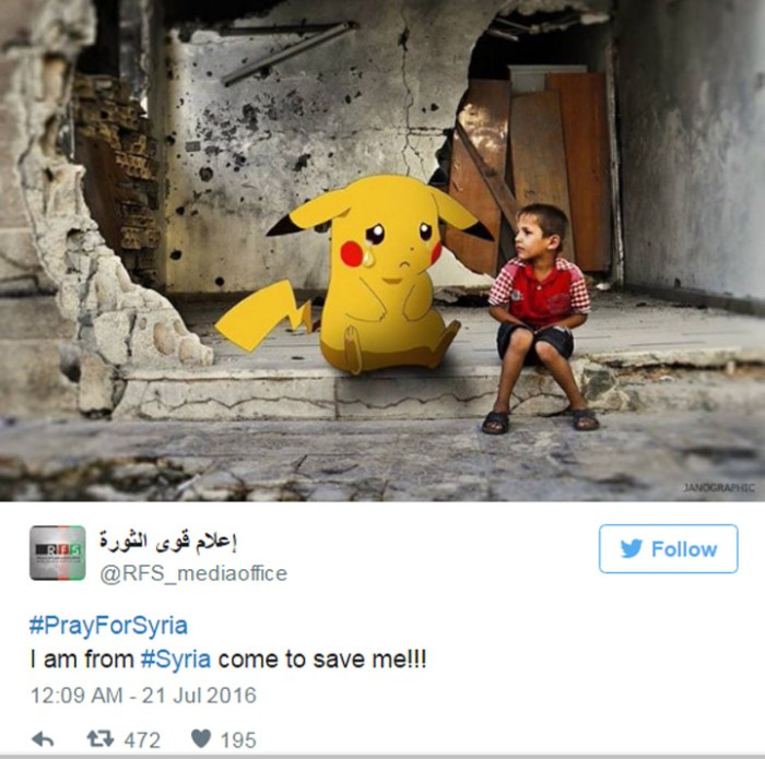 The touching photos of children from Syria with Pokemon Go characters. (4)