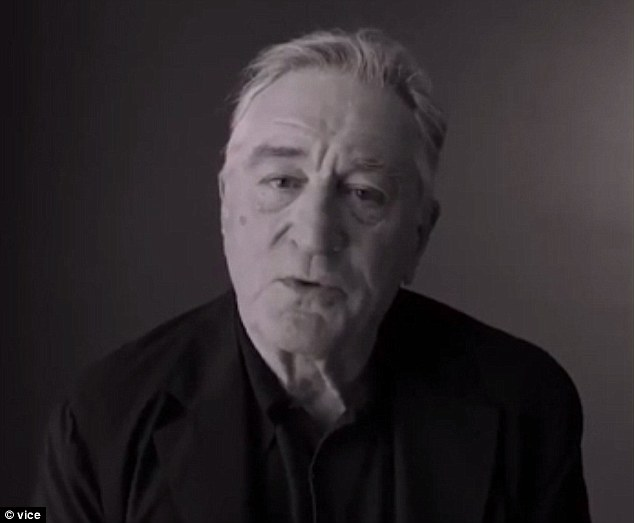 De Niro previously said in an video for a non-partisan campaign: 'He talks how he wants to punch people in the face. Well, I'd like to punch him in the face'