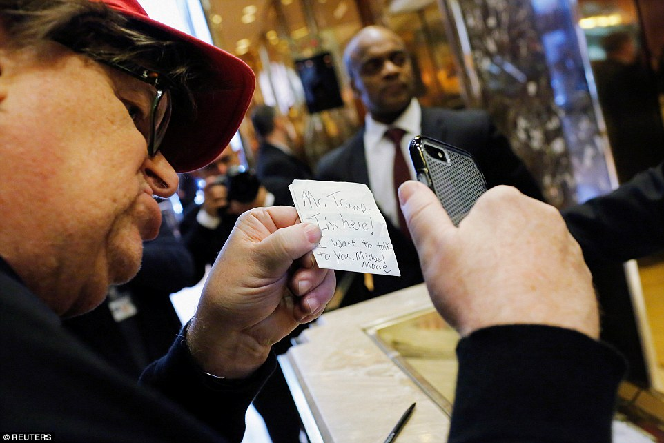 Michael Moore to Trump - 'Mr Trump. I'm here. I want to talk to you'