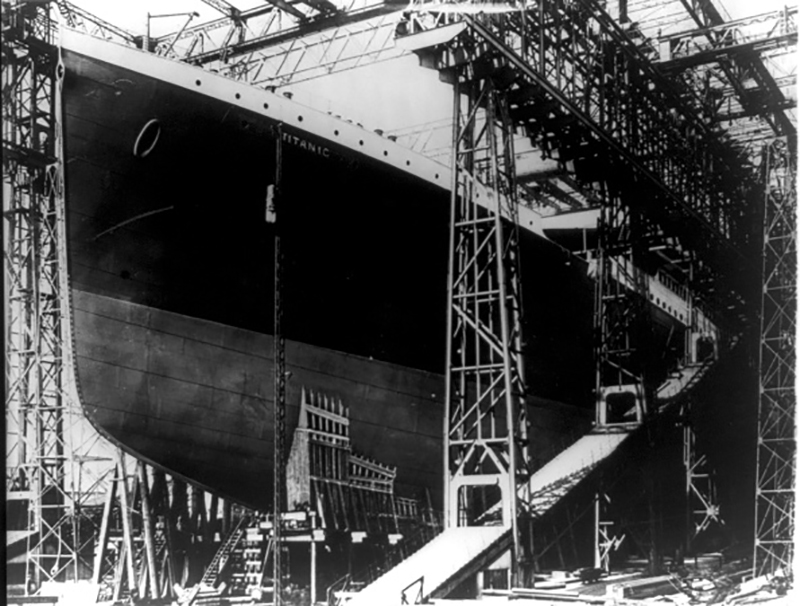 The Titanic, White Star, Liner on the stocks in Harland & Wolff's shipyard, 1911