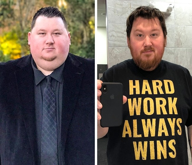 8. His tee aptly describes him. Hard work always wins, as he lost 90 lb in 13 months.