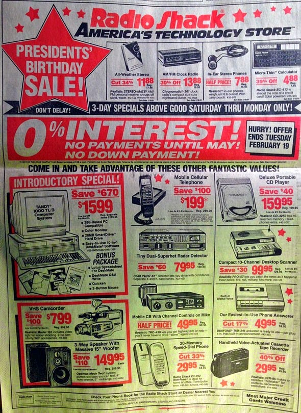 14. Everything in this 1991 RadioShack ad exists in a single smartphone.