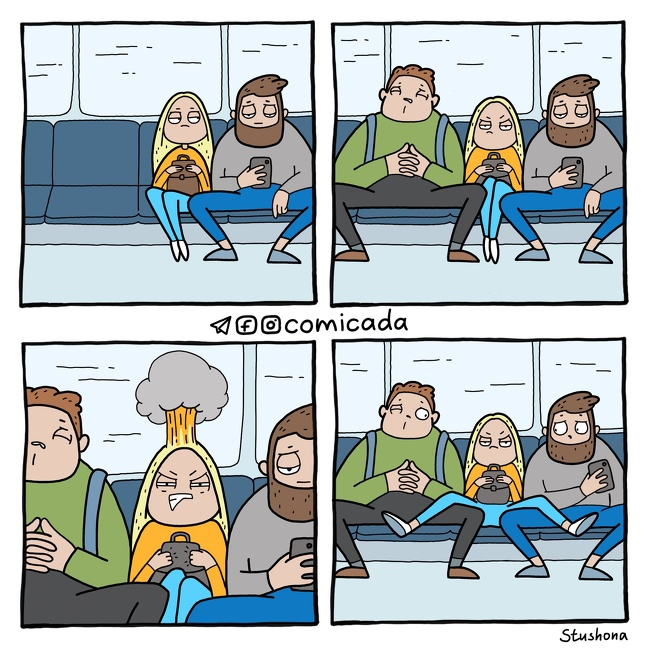 #18. This is dedicated to all men who love to sit like this in public transport.