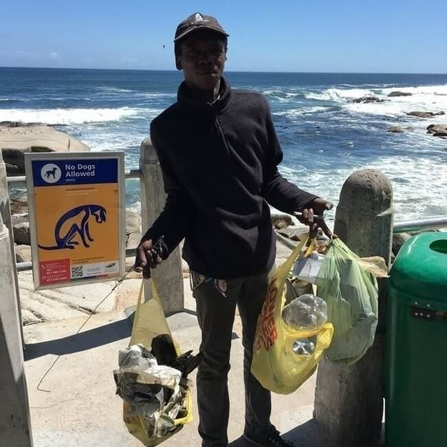 19. A homeless man collects garbage on the beach daily and doesn't ask for any money.