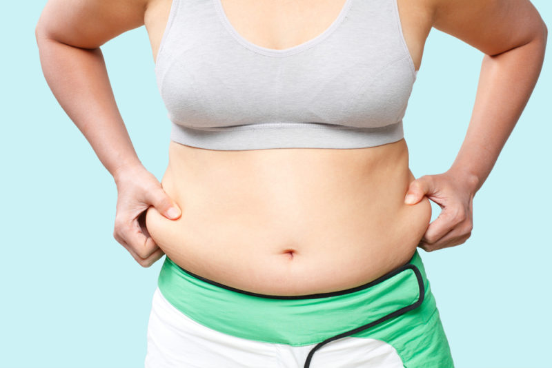 1. There is weight gain in the abdomen area