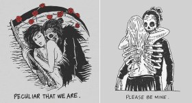 Skeletal Illustrations Show The Glimpse Of Intense Love With Beautiful Messages