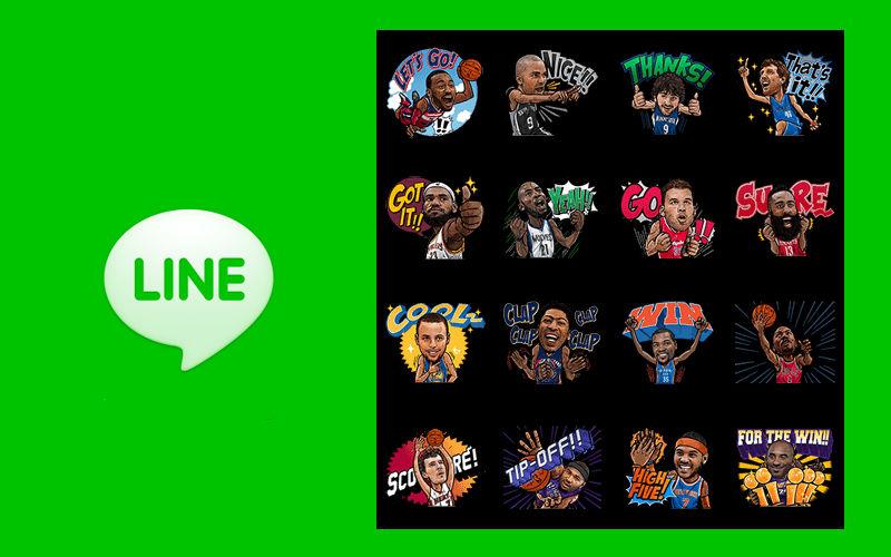 LINE NBA stickers, Basketball LeBron James, Steph Curry emoticons