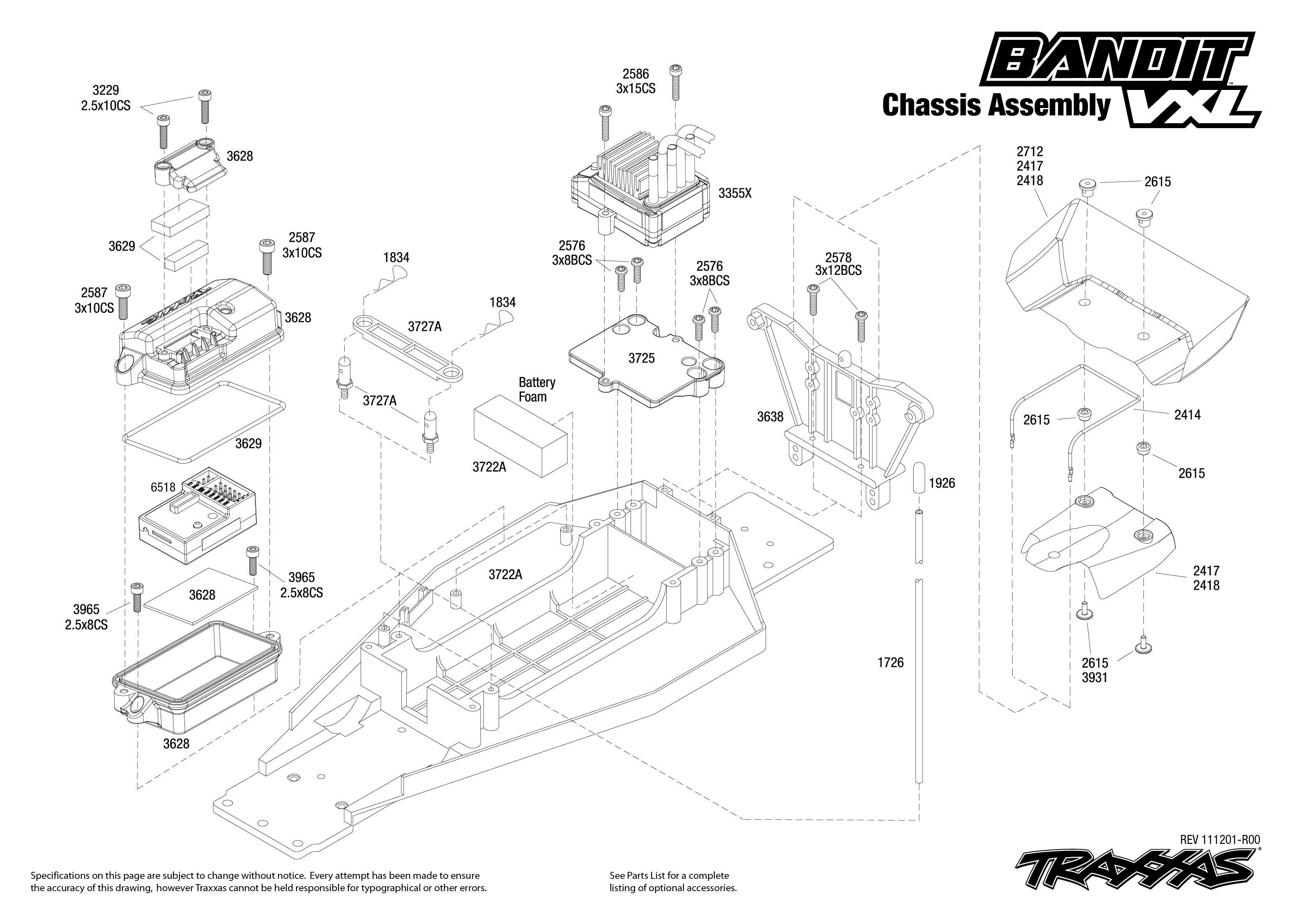 Traxxas Bouwtekening Chassis Bandit Vxl