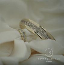 Geelwitgouden armband bezet met diamant