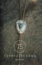 Bolo tie van zilver en witgoud met opaal