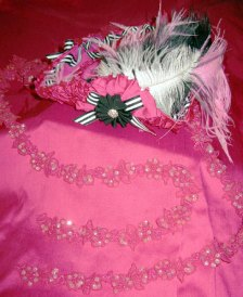 Pink tricorn by the Ruby Raven, pink embroidered lace, pink satin