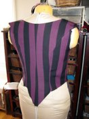 Stripey polonaise bodice, in-progress, back