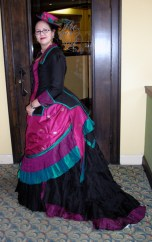 Peacock bustle gown at CoCo, photo by Loren