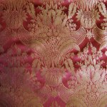 Red & gold damask poly