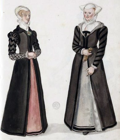 1570, English bourgeois women by Lucas de Heere, image from University of Ghent