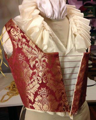 Venetian gown bodice & partlet, in progress