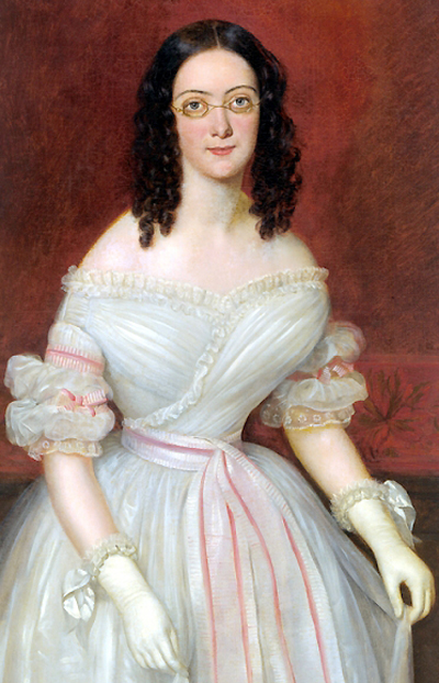 Portrait of Mrs. Antoine-Julien Meffre-Rouzan, 1839, by Jean Joseph Vaudechamp, woman wearing glasses.