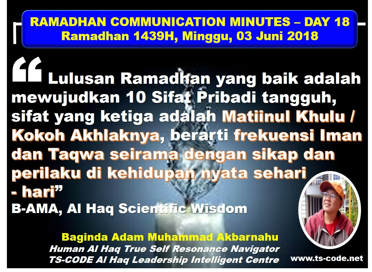 RAMADHAN 1439H COMMUNICATION MINUTES, DAY 18