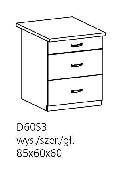 Unterschrank Prowansja D60S3 Farbe Kiefer Wei Schubladen