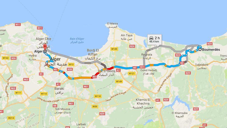 Carte Algeriecom.La Circulation Bloquee A L Entree D Alger Carte Tsa