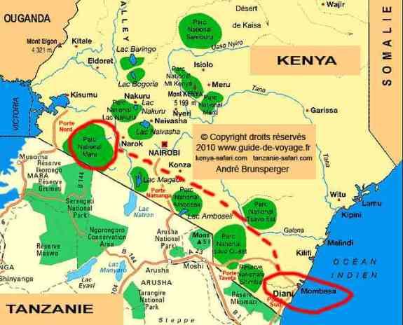 Carte - Safari Masaï Mara par avion 3jours depuis Diani Beach Kenya.