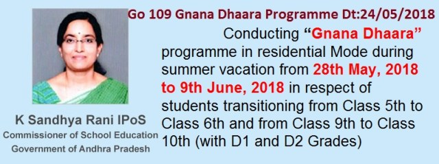 Go.109 Gnana Dhaara Programme from 28th May 2018 to 9th June 2018